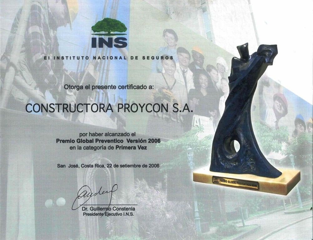 Premio Preventico 2006 Certificacion