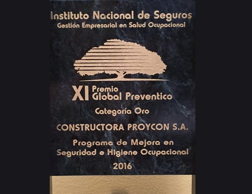 Premio Preventico 2016 placa