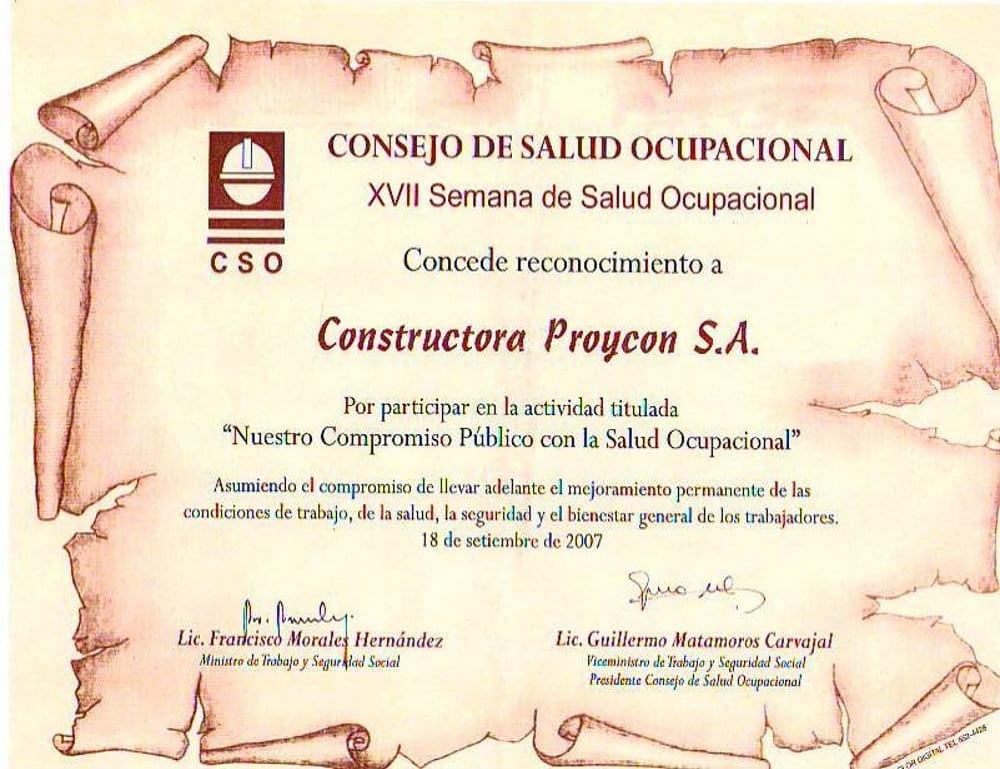 Reconocimiento CSO participacion en compromiso con la SSO